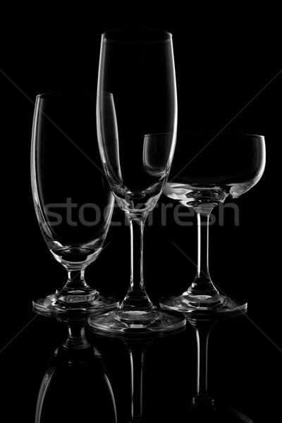 рюмку черный воды фон ресторан красный Сток-фото © tungphoto