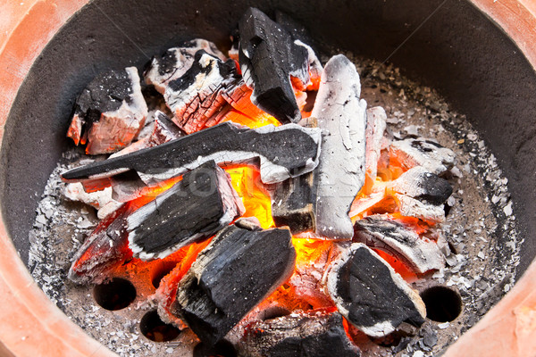 fired coals in the stove Stock photo © tungphoto