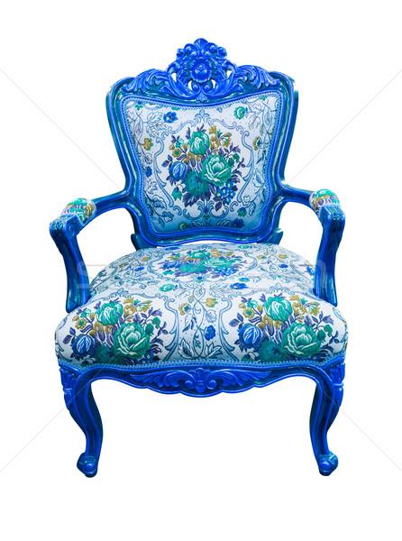 Kék luxus fotel izolált vágási körvonal textúra Stock fotó © tungphoto