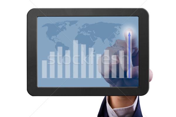 Hand wijzend grafiek business internet Stockfoto © tungphoto
