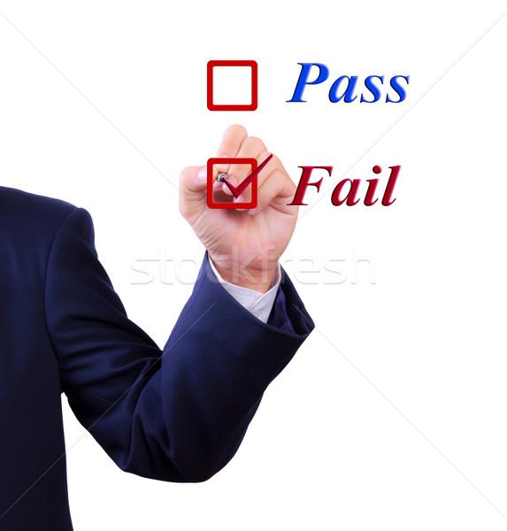 business man hand choose fail box Stock photo © tungphoto