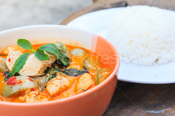 Foto stock: Frango · vermelho · caril · arroz · delicioso · thai