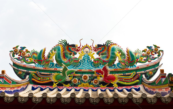 Stock photo: Twin dragon statue isolated