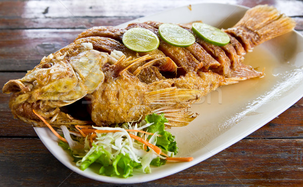 Stock photo: fired fish with fishsauce delicious thai food