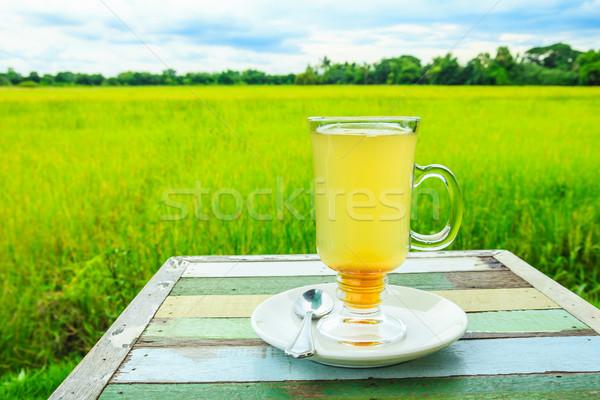 honey lemon on wood table Stock photo © tungphoto