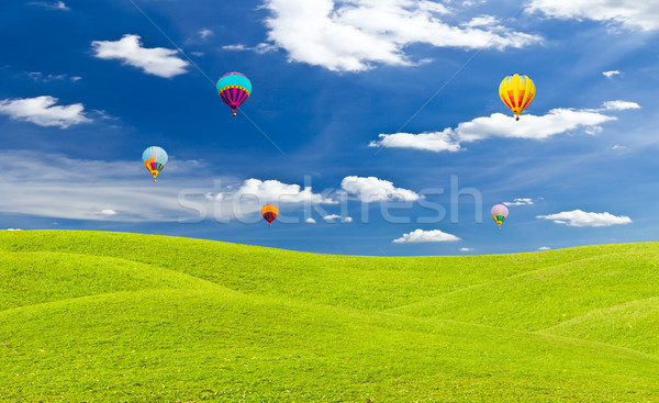 Stock photo: colorful hot air balloon against blue sky