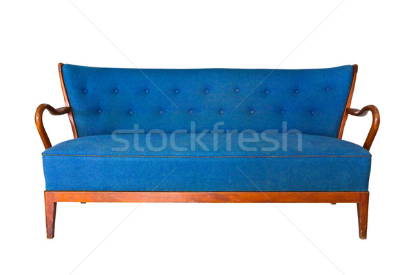 Kék kanapé izolált vágási körvonal divat zöld Stock fotó © tungphoto