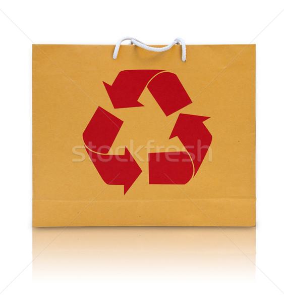 Zdjęcia stock: Recyklingu · podpisania · brązowy · papier · worek · projektu · tle