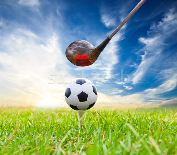driver hit soccer ball on tee Stock photo © tungphoto