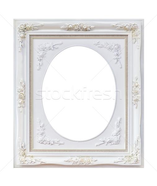 Witte houten frame geïsoleerd achtergrond metaal Stockfoto © tungphoto