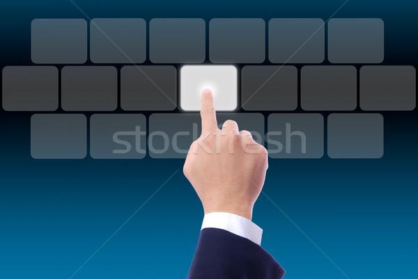 Hand voortvarend knop computer sleutel Stockfoto © tungphoto