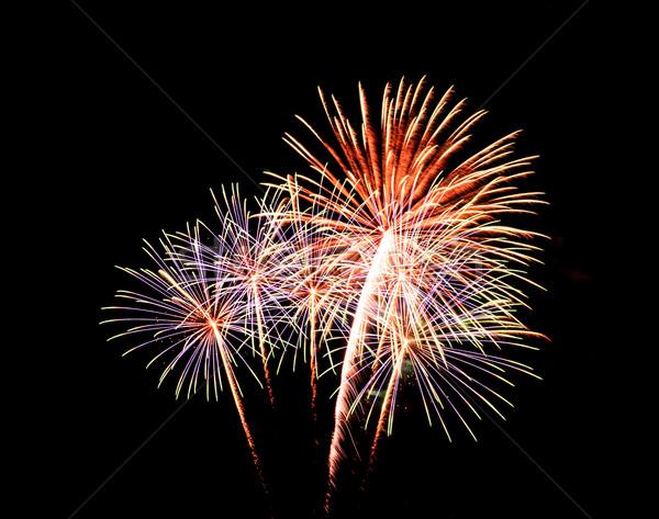 Fuochi d'artificio nero cielo fumo stelle verde Foto d'archivio © tungphoto