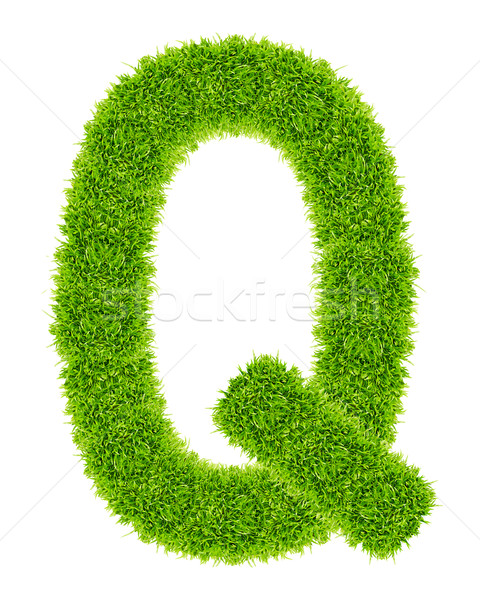 green grass letter Q Isolated Stock photo © tungphoto