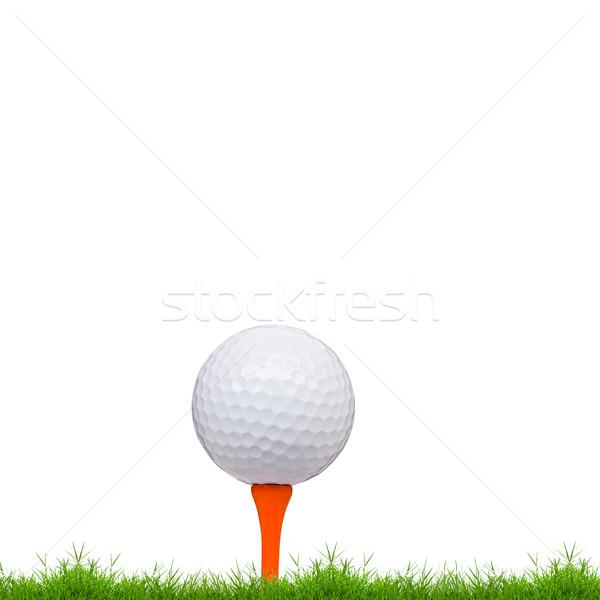 мяч для гольфа зеленая трава изолированный белый трава спорт Сток-фото © tungphoto