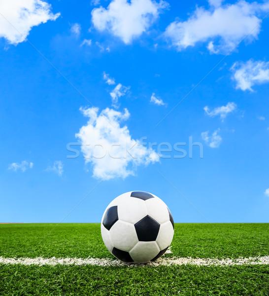 Futballabda zöld fű mező futball sport futball Stock fotó © tungphoto