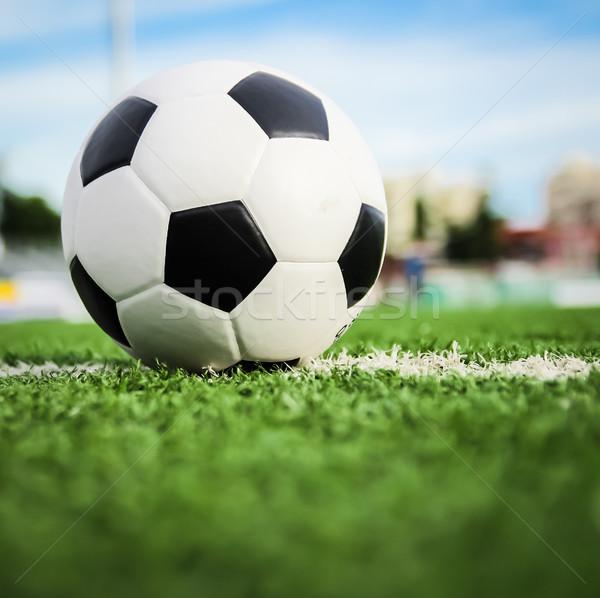 Voetbal groen gras voetbal sport zomer veld Stockfoto © tungphoto