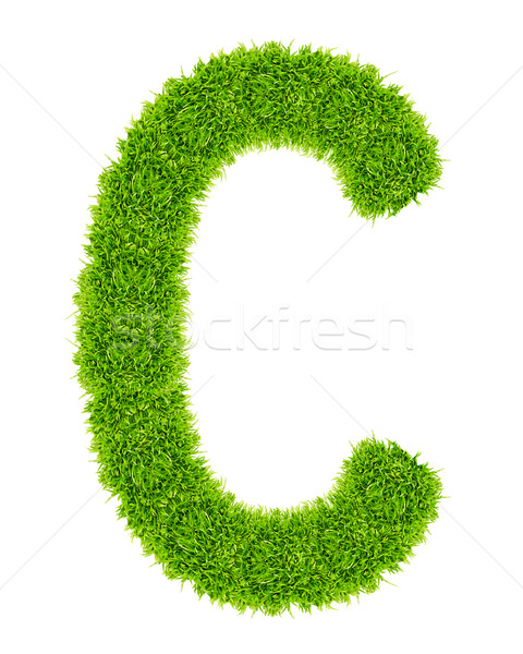 green grass letter C Isolated Stock photo © tungphoto