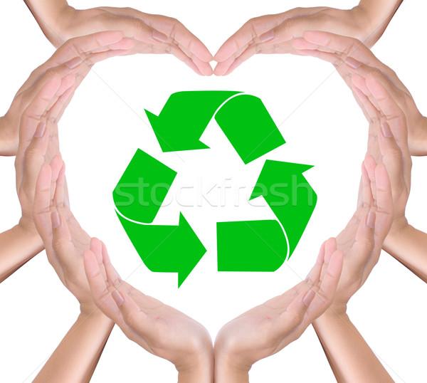 リサイクル にログイン 手 中心 ツリー デザイン ストックフォト © tungphoto