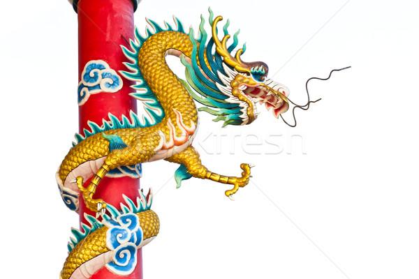 Draak standbeeld chinese tempel reizen Rood Stockfoto © tungphoto