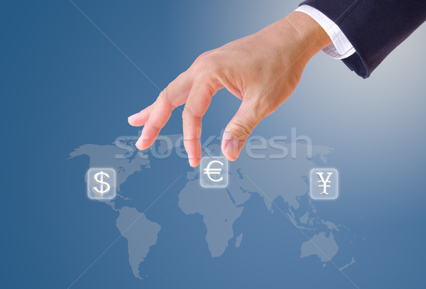 business man hand bring up euro sign button Stock photo © tungphoto