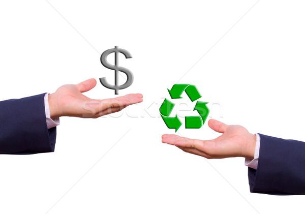 üzletember kéz csere dollárjel újrahasznosít ikon Stock fotó © tungphoto