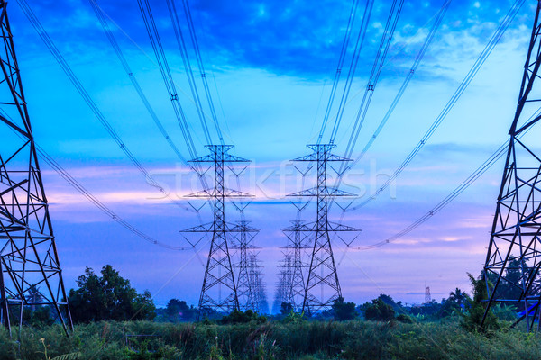 electricity high voltage power pylon at dusk Stock photo © tungphoto