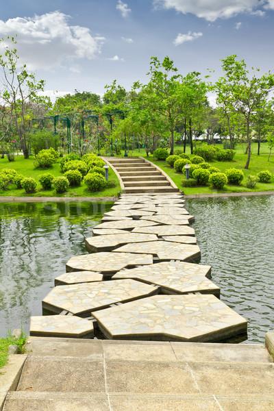 Foto stock: Piedra · parque · acuático · hierba · carretera · verano · rock