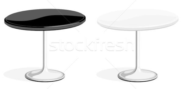 Foto stock: Preto · e · branco · café · tabela · isolado · branco