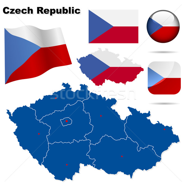 Сток-фото: Чешская · республика · вектора · набор · подробный · стране · форма