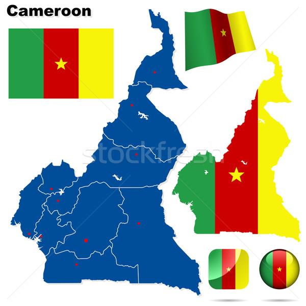 Сток-фото: Камерун · вектора · набор · подробный · стране · форма