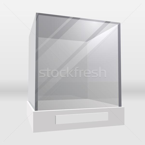 Empty exhibition or museum glass display cabinet. Stock photo © tuulijumala