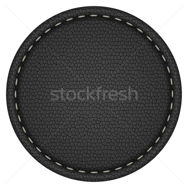 Blank round stitched black leather label Stock photo © tuulijumala