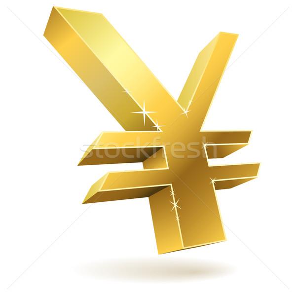 3D arany japán yen felirat izolált Stock fotó © tuulijumala