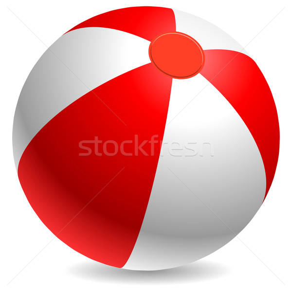 Red and white beach ball isolated on white background. Stock photo © tuulijumala