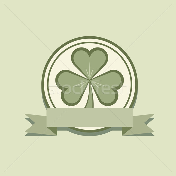 Shamrock label flat design with blank banner vector template. Stock photo © tuulijumala