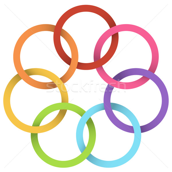 Colorful linked rings vector design element. Stock photo © tuulijumala