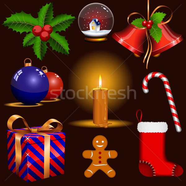 Vector set of traditional Christmas symbols isolated on dark bac Stock photo © tuulijumala