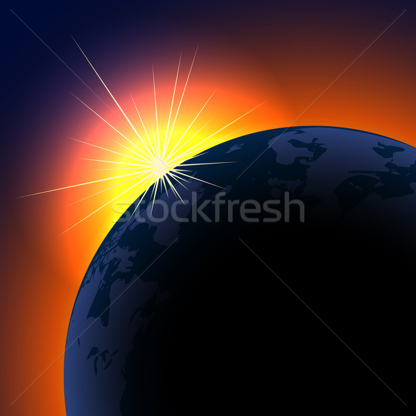 Sun rising over planet background with copy space.  Stock photo © tuulijumala