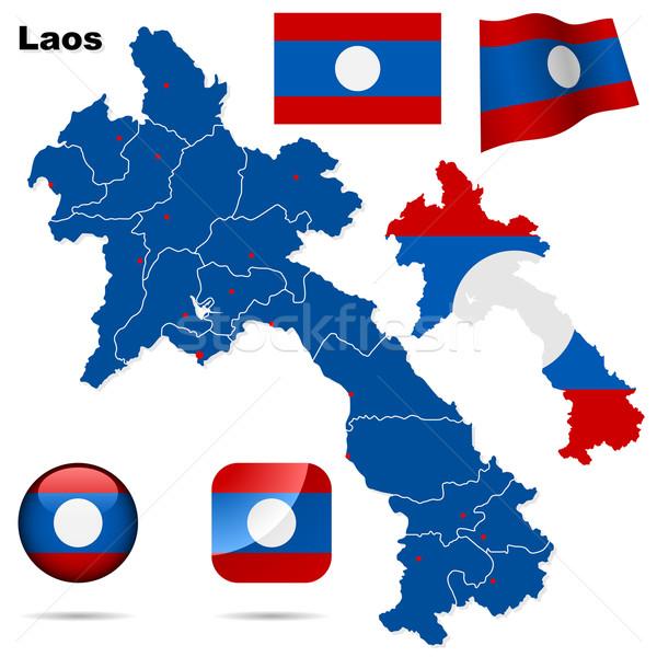 Laos wektora zestaw szczegółowy kraju Zdjęcia stock © tuulijumala