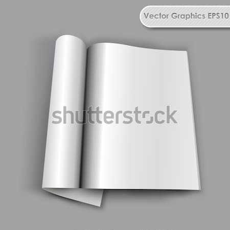 Blank opened magazine with rolled page vector template. Stock photo © tuulijumala