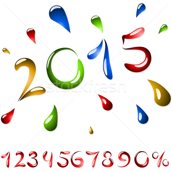 2015 año etiqueta fluido forma establecer Foto stock © tuulijumala