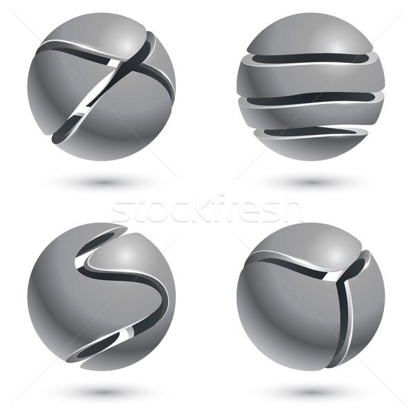 3D corte metal esfera signos aislado Foto stock © tuulijumala