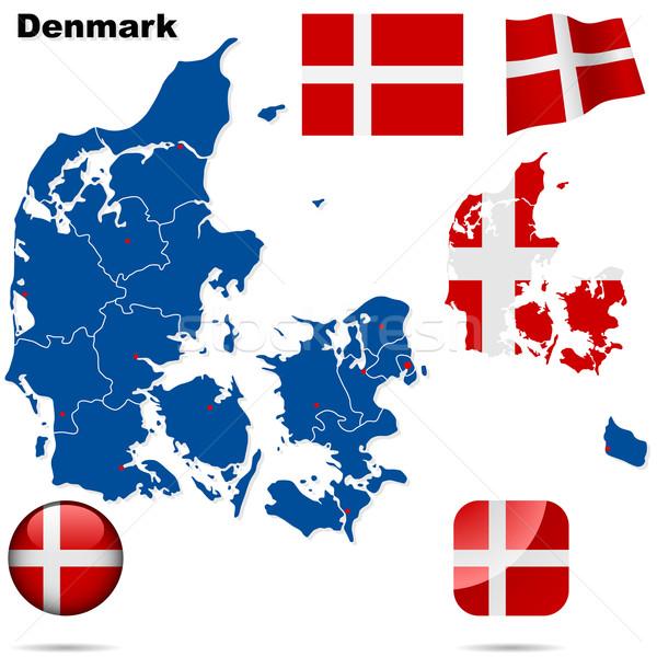 Сток-фото: Дания · вектора · набор · подробный · стране · форма