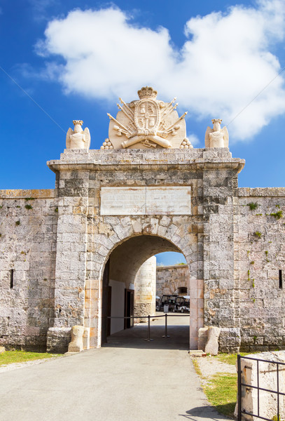 Entrabce gate of La Mola Fortress of Isabel II at Menorca island Stock photo © tuulijumala