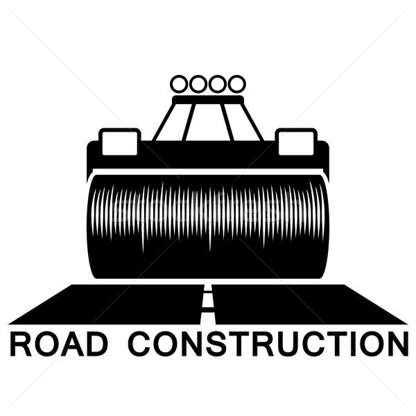 Road roller black and white sign isolated on white background. Stock photo © tuulijumala