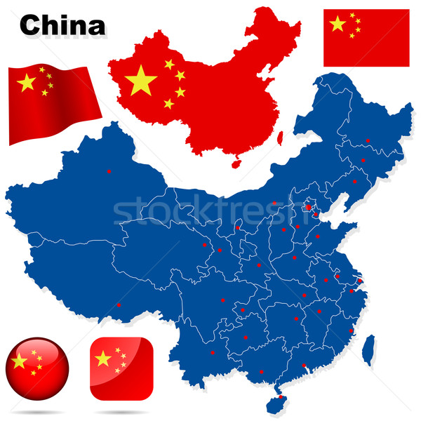 China vector set. Detailed country shape with region borders, fl Stock photo © tuulijumala