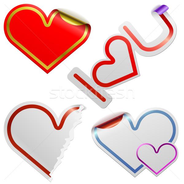 Hart stickers kleur frames geïsoleerd Stockfoto © tuulijumala