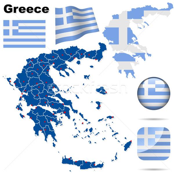 Сток-фото: Греция · вектора · набор · подробный · стране · форма