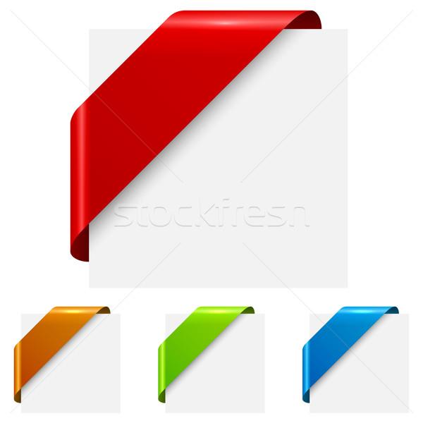 ストックフォト: 抽象的な · 色 · コーナー · リボン · 孤立した