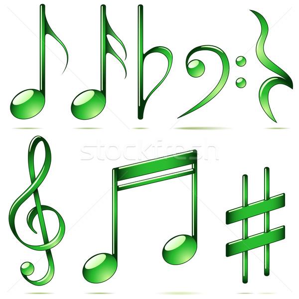 Foto stock: Vector · establecer · notas · musicales · iconos · aislado · blanco